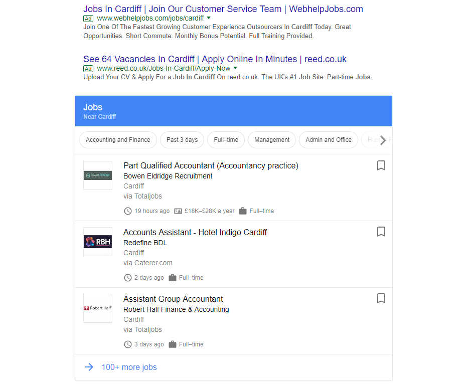 Cardiff for Jobs in search results