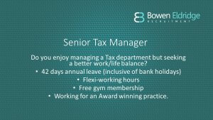 Senior Tax Manager